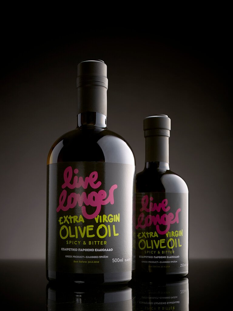 Live longer extra virgin oil bottles 500ml & 250ml